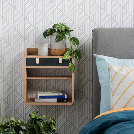Origami removable wallpaper in light grey