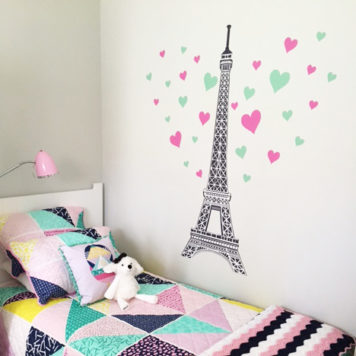 Girl's bedroom with Eiffel Tower wall sticker