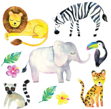 Jungle watercolour wall stickers