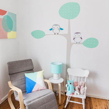 Owl Tree wall sticker design in a Nursery