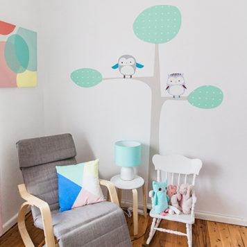 Owl Tree wall sticker design in a Nursery