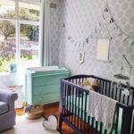 Trellis wallpaper large option in habitat baby grey in the Bishop home