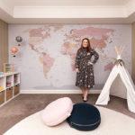World Map Mural custom colours Belinda Nest Design Studio