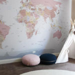 World Map Mural custom colours Nest Design Studio