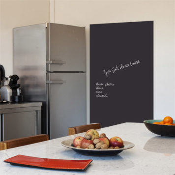 kitchen with a chalkboard on the wall