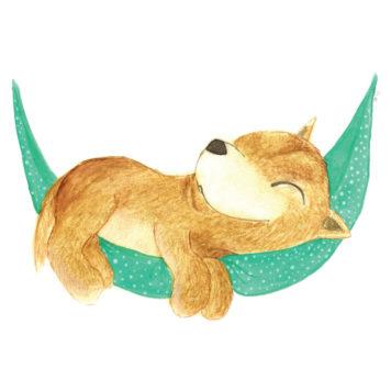 Hand drawn dingo on a hammock