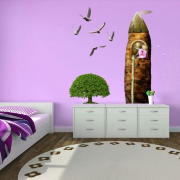 Pink wall in a kids bedroom with tree and birds wall design