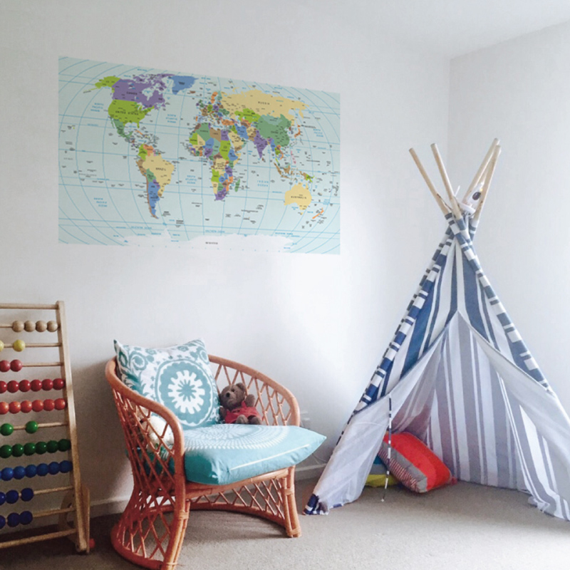 world map deval on the wall in a child's space