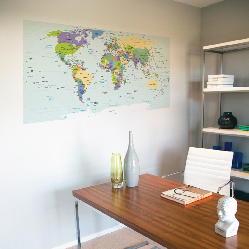 world map deval on the wall in an office