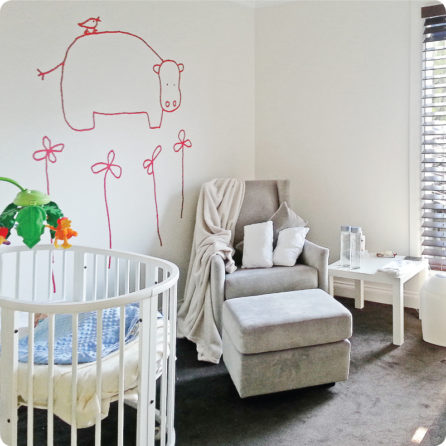 Hadda the Hippo in Christian and Alexa Grahame's Nursery room.|Hada the Hippo in Red. Crameri's Home.|Hada the hippo seen in red