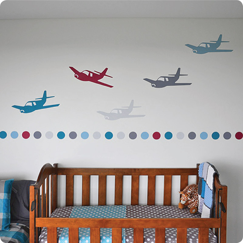 Polkadots Planes removable wall decals on the wall