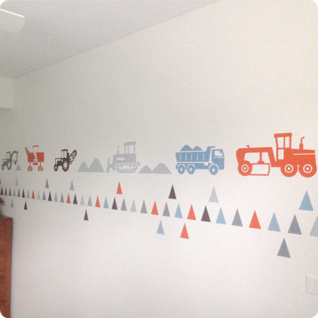 Trucks and Triangles wall stickers in orange, duck egg, light grey, grey and Dulux Abbot
