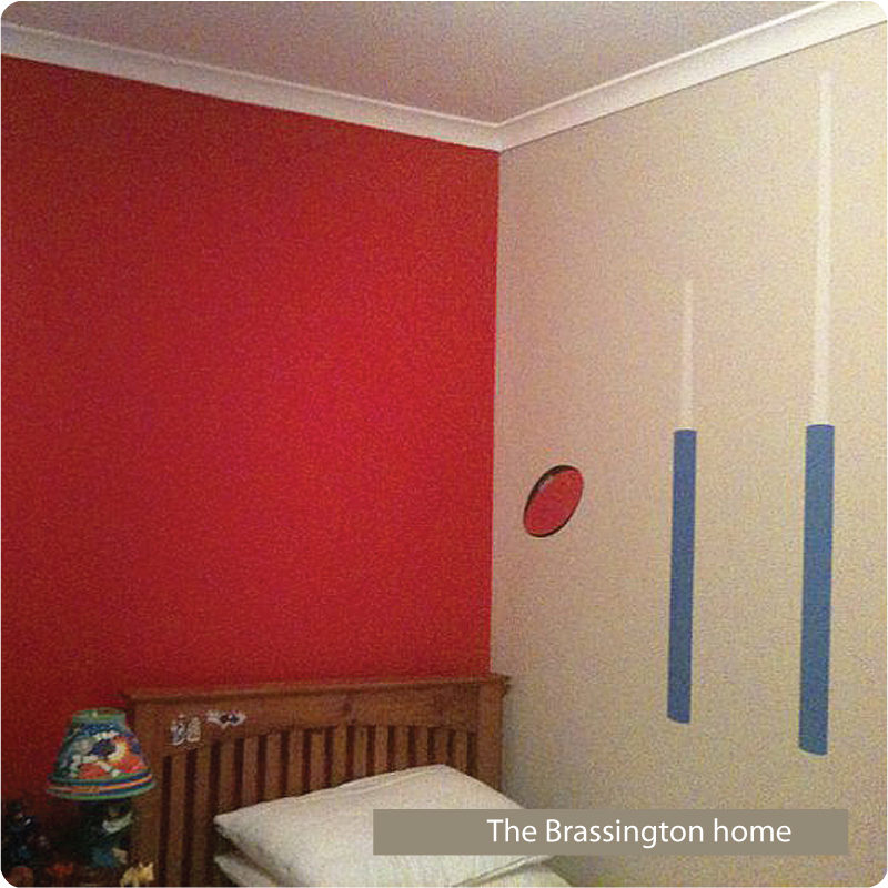 Footy removable wall stickers for boys room in blue and red