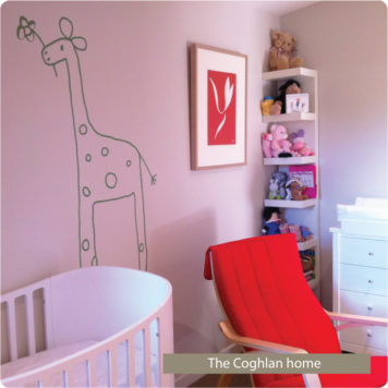Gemmi the Giraffe removable wall stickers by Jane Reiseger in child's room