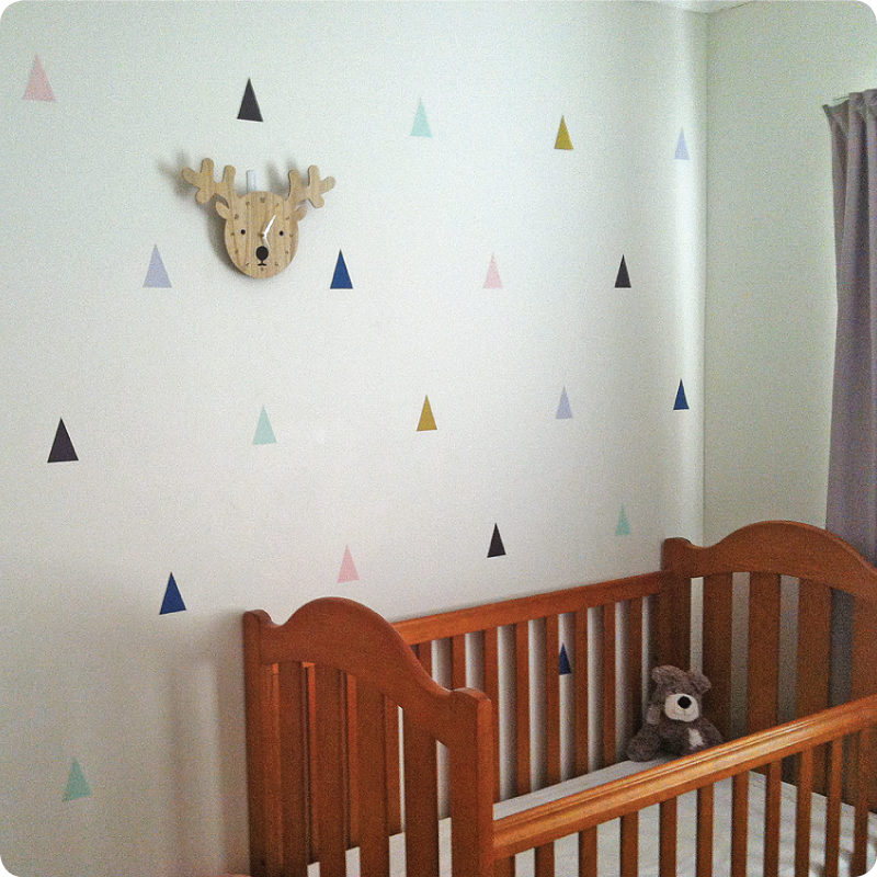 Triangle removable wall stickers decals in Helen Banister home