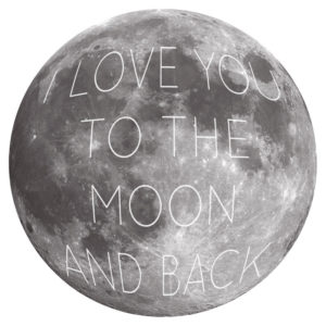 I love You To The Moon and Back Removable Wall Stickers in black