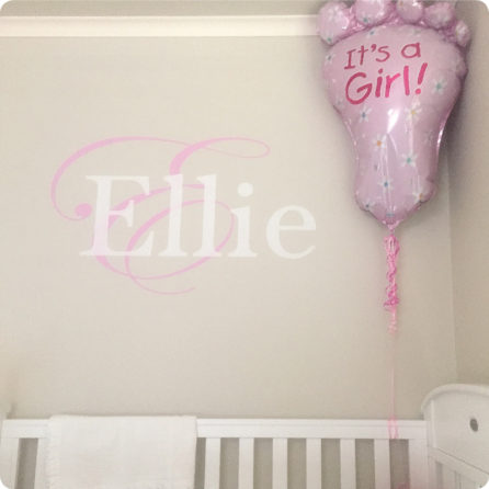 Monogram Removable Wall Stickers with a child name Ellie