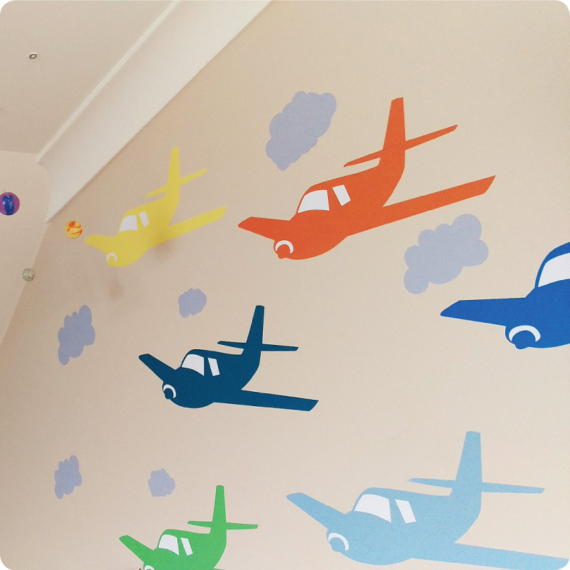 Planes removable wall decals in bright colours