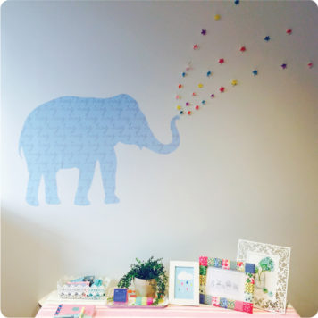 My Name Elephant Removable Wall Stickers in girl's room