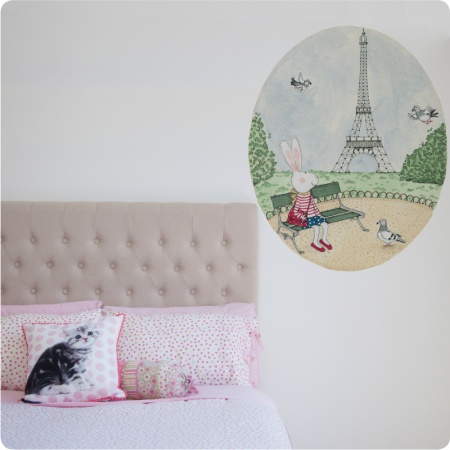 Ruby In Paris Removable Wall Stickers beside a bed
