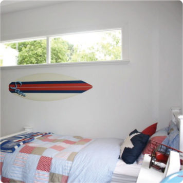Surfboard removable Wall Stickers for boys room in red and white