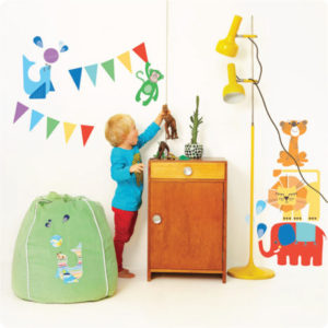 Magic Circus Removable Wall stickers with cute little boy playing in front