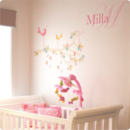 Enchanted Branch and Monogram Removable Wall Stickers on the wall