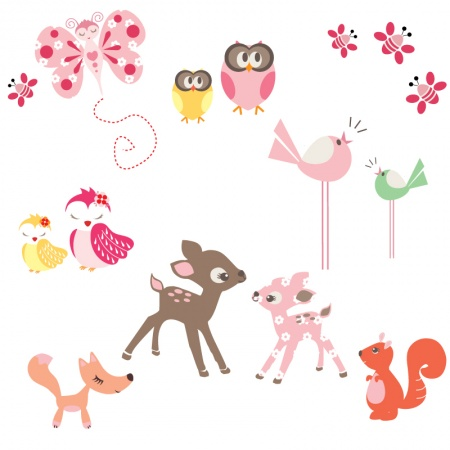 Childrens design of animals and birds in pinks