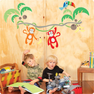 Jungle Canopy Removable Wall stickers with a 2 cute little boys playing in front