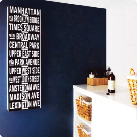 Custom Destination or My Family wall sticker on the blue wall
