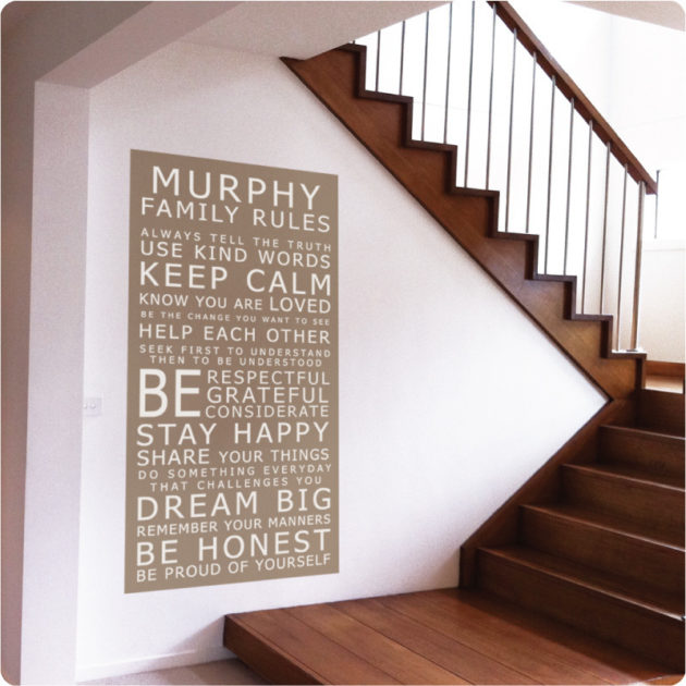seen here in a Carlisle Home (white on cocoa background)|Family rules in the Stafford home|The Clark home|Family Rules – you can choose this text if you like it! (seen on ice mint background)