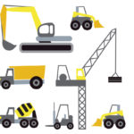 Contents of Dozers wall stickers|Dozers in the Houghton home seein with cars|Dozers wall stickers turn a wall into a construction site