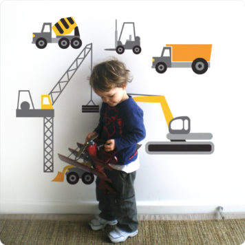 Dozers removable wall sticker with little boy in front playing his toy
