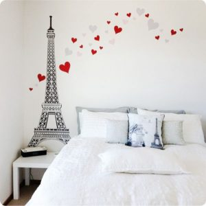 Hearts and Eiffel Tower Removable Wall Stickers on the wall