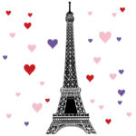 Eiffel Tower in black with hearts included Eiffel Tower Hearts in the Muller home
