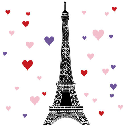 Eiffel Tower in black with hearts included|Eiffel Tower Hearts in the Muller home