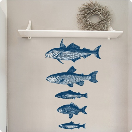 Etched fish Set of removable wall stickers in blue