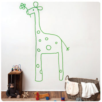 Gemmi The Giraffe Removable Wall Stickers with a basket and toys in front