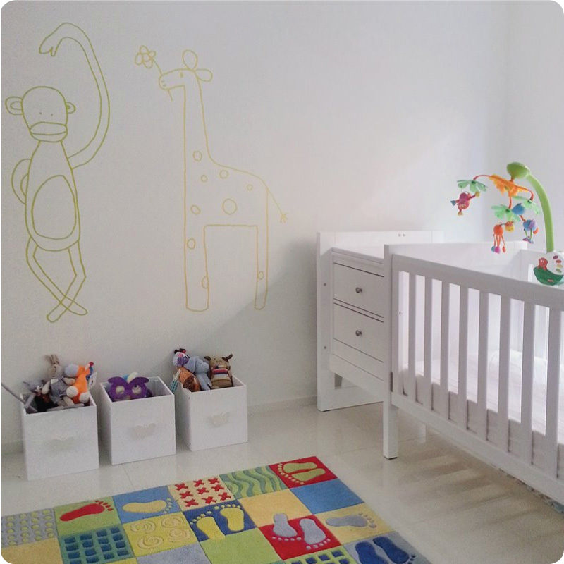 Cheekee Monkee and Gemmi The Giraffe Removable Wall Stickers on the wall