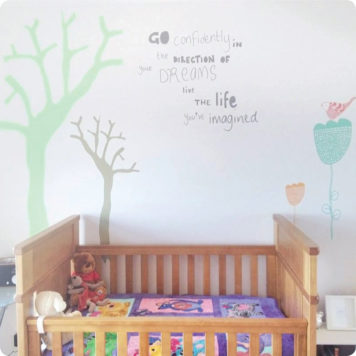 Go confidently quote removable wall sticker in child's bedroom