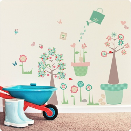 Grown Your Own Garden Removable Wall stickers with kids cart and boots in front