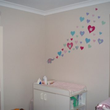 Hearts removable wall stickers for girls rooms