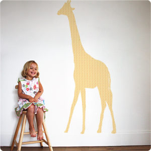 Giraffe Height Chart Removable Wall Stickers with pretty girl sitting in front