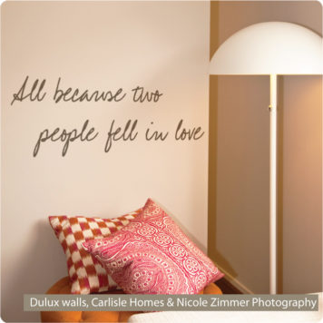 In Love quote removable wall sticker in the Carlisle home