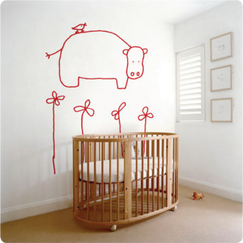 Hada The Hippo Removable Wall Sticker with a crib in front