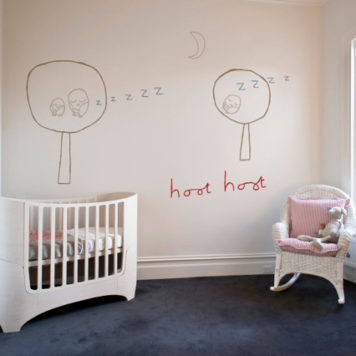 Hoot Hoot removable wall stickers by Jane Reiseger in nursery room