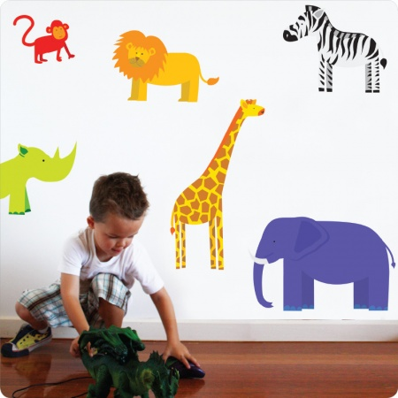 Jungle Removable Wall Stickers with little boy in front playing his toys