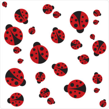 Ladybug removable wall stickers in black and red
