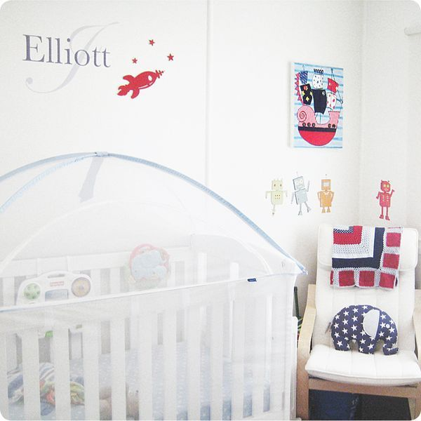 Monogram Removable Wall Stickers with child name Elliott