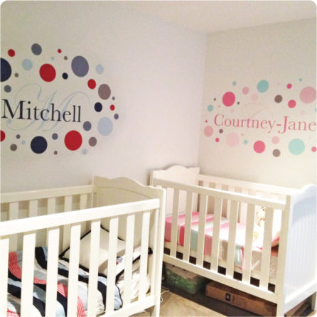 Monogram Removable Wall Stickers with child name Mitchell and Courtney-Jane on the wall